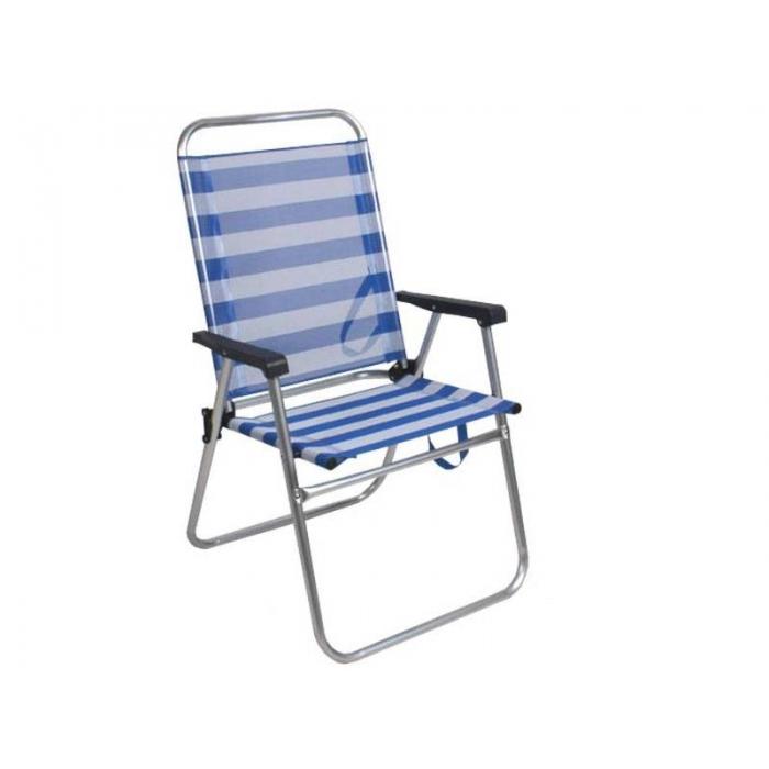 Comprar silla de playa plegable fija azul - Silla playa aluminio ...