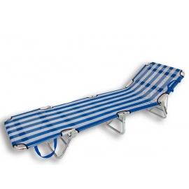 Tumbona de playa con tres pies aluminio azul y blanca.