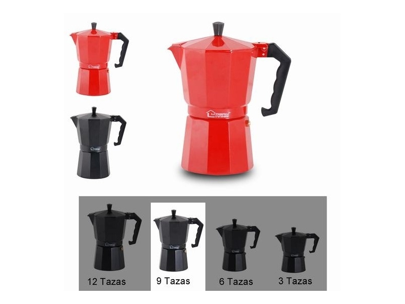 Cafetera Roja/Negra 9 tazas