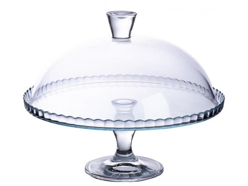 Plato Repostería con Pie más Tapa Cristal