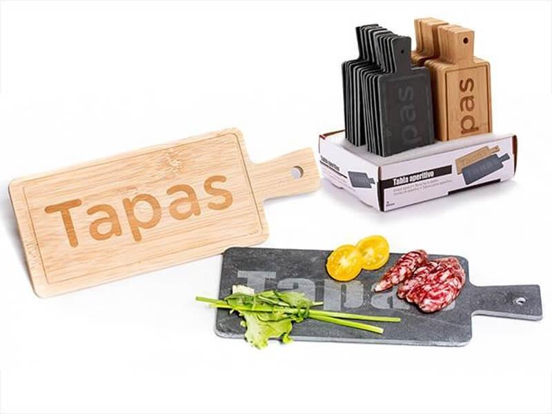Tabla Cortar Rectangular Bambú y Pizarra