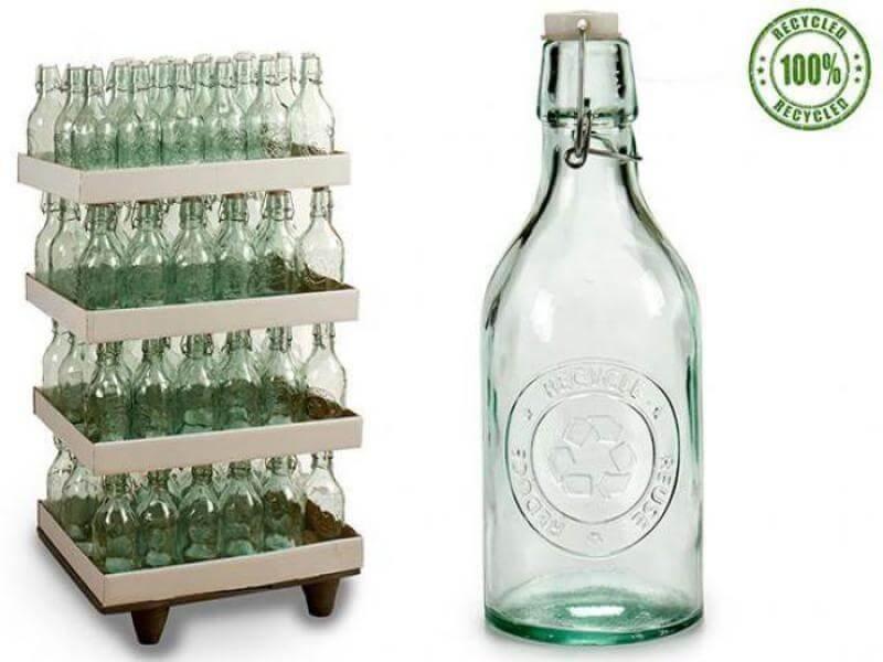 Botella Ancha Vidrio Reciclado