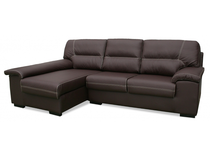 1 elegant sofa chaise longue piel sintetica sectional sofas for Sofas chaise longue de piel
